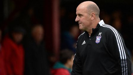 A deflated Paul Cook makes his way to the dressing rooms after the defeat at Accrington Stanley.