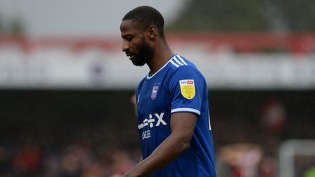 Janoi Donacien makes his way to the dressing rooms after the defeat at Accrington Stanley.