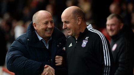 The two managers meet before kick-off at Accrington Stanley.