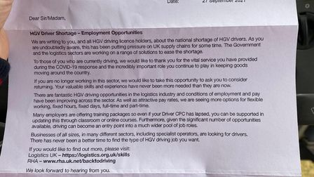 The letter toRoberta Bradby from the Department for Transport.