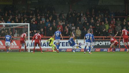 Ipswich concede the equaliser to Colby Bishop at Accrington Stanley.