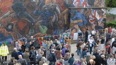 Battle of Cable Street mural... rally in 2016 marking 80th anniversary