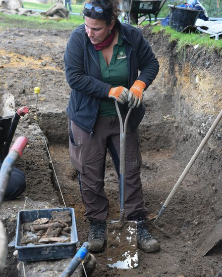 A volunteer helping dig at one of the excavation sites at Clare Castle. Picture: Danielle Booden