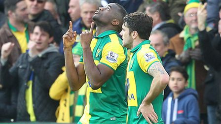 Sebastien Bassong of Norwich celebrate scoring his side's fourth goal during their 5-4 Barclays Prem