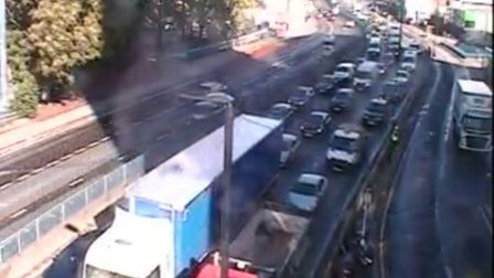 Southbound traffic on the 112 Blackwall Tunnel Northern Approach at the Gillender Street junction