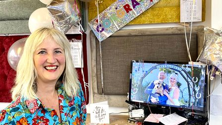 Jill Barrett was welcomed home with a barrage of decorations