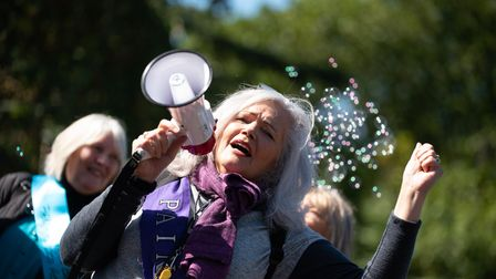 A group of WASPI campaigners gathered in Norwich