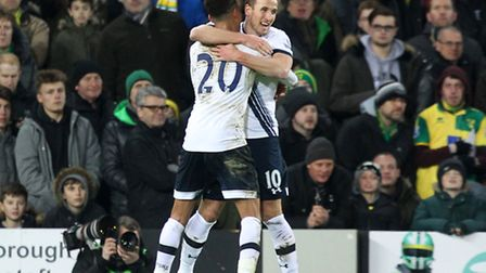 Harry Kane of Tottenham Hotspur celebrates scoring his sides 2nd goal from the penalty spot during t