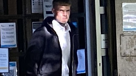 Leicester fan Liam Burns leaving Norwich Magistrates Court after admitting throwing a flare onto the pitch at Carrow Road.