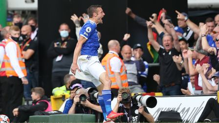 Jamie Vardy of Leicester celebrates a goal at Carrow Road