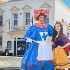 Daniel Hanton, playing Nurse Nelly Ellingham,and Faye Ainley, playing Snow White, outside Beccles Public Hall