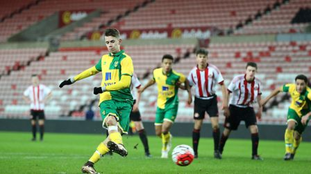Todd Cantwell scores from the penalty spot at the Stadium of Light in Norwich City Under-18s' 4-1 wi