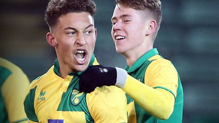 Louis Ramsey of Norwich City u18s with Todd Cantwell after he scores the equalising goal to make it