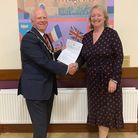 Great Dunmow Town Council mayor CouncillorPatrick Lavelle and council clerk Caroline Fuller