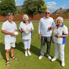 Andy Cardy & Anne Clarke (Runners Up) with winners in the Mixed Pairs Brian Goddard and Gwen Hurst