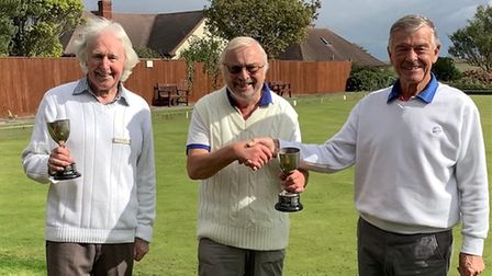Graham Anderson & Peter Foreman - Winners of the Mens' Pairs with Tony Mackness Club committee member
