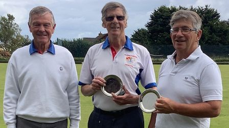 Tony Mackness with Robin Grenyer & Andy Cardy runners up in the Mens' Pairs