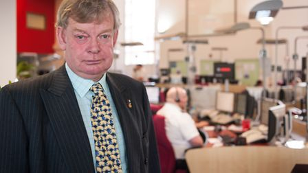 Police and Crime Commissioner Stephen Bett in the control room at Wymondham HQ. Photo: Bill Smith