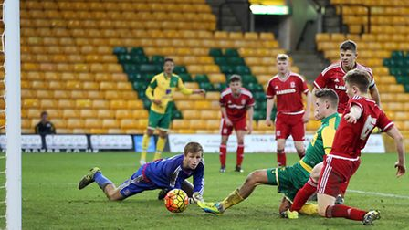 Todd Cantwell of Norwich City U18s scores the winning goal to put Norwich 5-4 up in extra-time again
