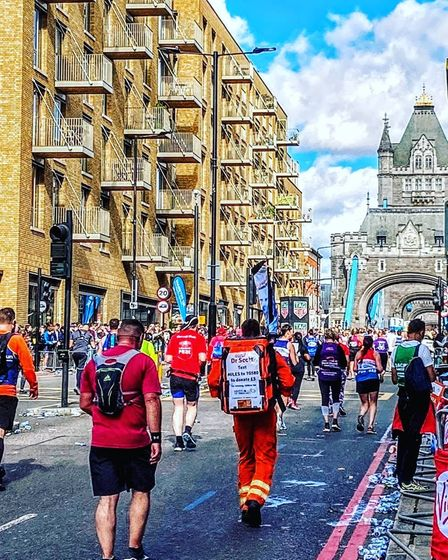 Magpas Air Ambulance doctor, Scott Castell completed the London Marathon in six hours and 53 minutes,