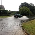 Flooding in Bungay between the Wherry Vets and Co-op petrol station after heavy rain across the Waveney.