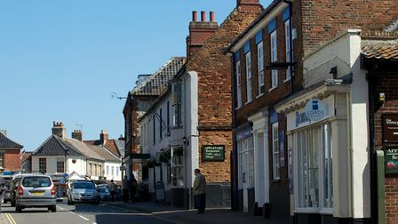 The high street, Holt, which has many independent shops