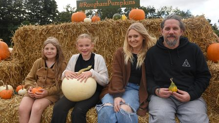Sienna Lionnet-Cook, and Pixie, Hayley and Gemmel Crawford at the PYO pumpkins at Rougham Estate. Pi