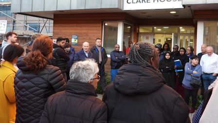 Meeting with mayor outside Clare House