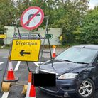 A motorist's car has been written off after ignoring a right turn off the A14 near Newmarket