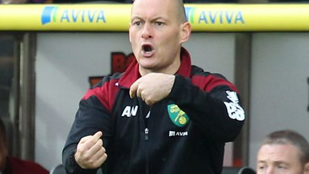 Norwich manager Alex Neil during the Barclays Premier League match against Liverpool at Carrow Road,