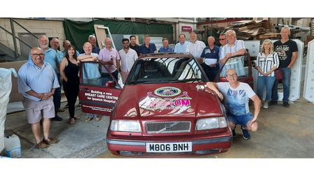 Fundraisers and supporters preparing to take part in the Undy 500, including Steve Flory, second from left