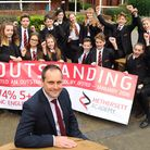 Principal of Hethersett Academy, Gareth Stevens, celebrates with some of the students their outstand
