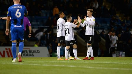 Conor Chaplin celebrates scoring Ipswich's second during the second half at Gillingham