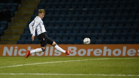 Joe Pigott with a smart first time finish to give Ipswich the lead during the first half at Gillingh
