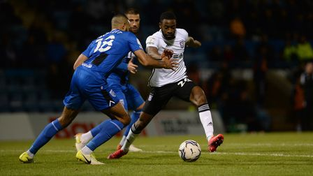 Kane Vincent-Young on a foray forward during the second half at Gillingham