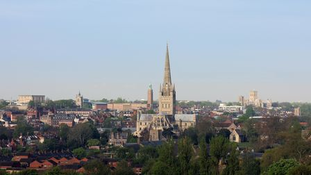 Norwich city centre and cathedral in England view from Mousehold Heath