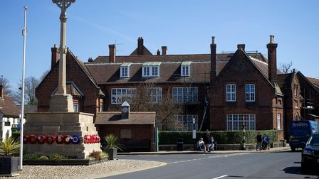 Holt town centre and it's Georgian architecture. Gresham's Pre-Prep school and War Memorial.Pict