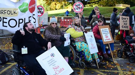 A previous protest against cuts at Norfolk County Council. Picture: DENISE BRADLEY