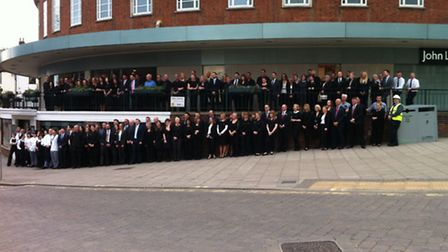 Hundreds of partners outside the John Lewis store in Norwich.