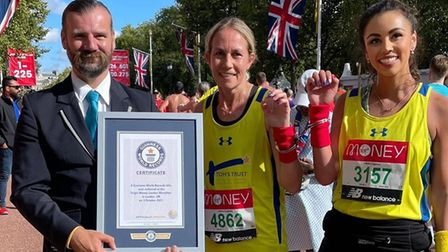 Kerry Bullen and Troi Baxter receive Guinness World Record certificate