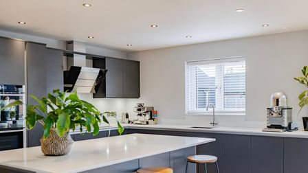 Contemporary fitted kitchen in this 3-bed home for sale in Strumpshaw, Norfolk, for £550,000