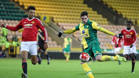 Kyle Lafferty featured as an over-age player for Norwich City U21s against Manchester United U21s in