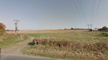 Land east of Station Road in Long Melford, due to be developed for 150 homes.