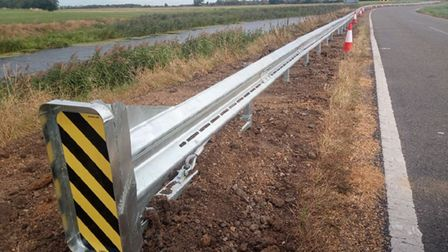 A safety barrier was installed at the Honey Farm Bend on the B1098 near March on September 23 following two deaths.