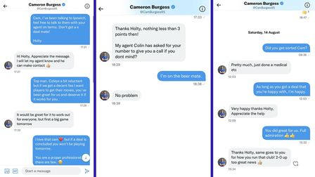 Andy Holt has revealed this message exchange between him and Cameron Burgess