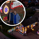 Soham Christmas lights couple Helen and John Attlesey (inset) hold trial switch-on.
