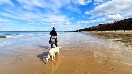 Ex serviceman, Chris Lewis, who hasbeen walking the UK's coastline since 2017and is now making his way through Norfolk.