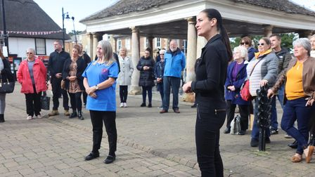 Deborah Slator (L) was surprised by presenter of The One Show, Kirsty Gallagher (m)and her TV crew in Whittlesey.