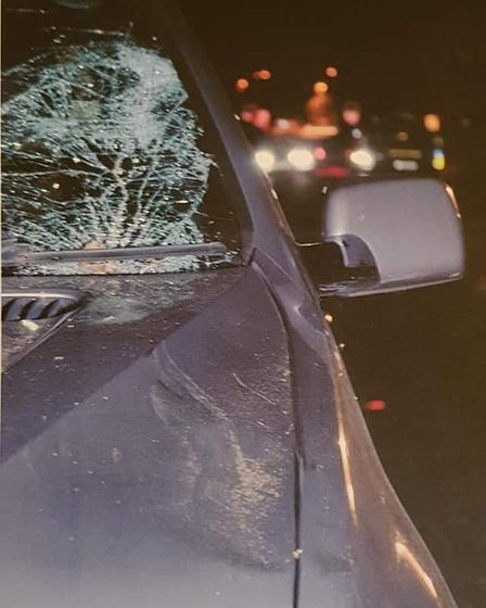 Extensive damage to the car that collided with Haydn.