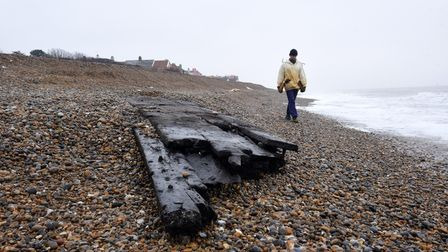 Wooden ship remains in Thorpeness, Suffolk